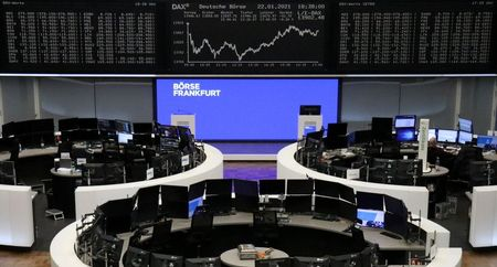 The German share price index DAX graph is pictured at the stock exchange in Frankfurt, Germany, January 22, 2021. REUTERS/Staff