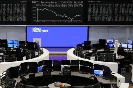 The German share price index DAX graph is pictured at the stock exchange in Frankfurt, Germany, January 27, 2021. REUTERS/Staff