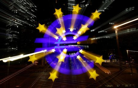 The euro sign is photographed in front of the former head quarter of the European Central Bank in Frankfurt, Germany, April 9, 2019. Picture is taken on slow shutter speed while zooming. REUTERS/Kai Pfaffenbach