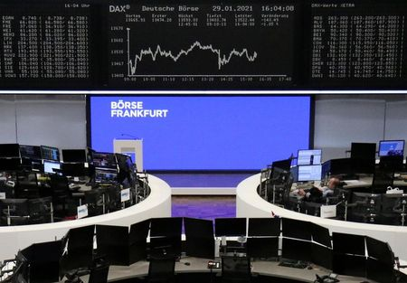 The German share price index DAX graph is pictured at the stock exchange in Frankfurt, Germany, January 29, 2021. REUTERS/Staff