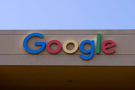 The Google sign is shown on one of the company's office buildings in Irvine, California, U.S., October 20, 2020. REUTERS/Mike Blake