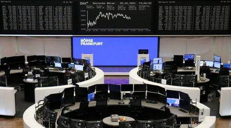 The German share price index DAX graph is pictured at the stock exchange in Frankfurt, Germany, February 5, 2021. REUTERS/Staff