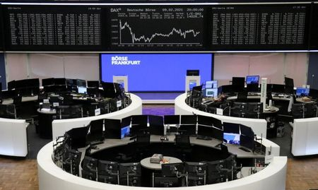 FILE PHOTO: The German share price index DAX graph is pictured at the stock exchange in Frankfurt, Germany, February 9, 2021. REUTERS/Staff