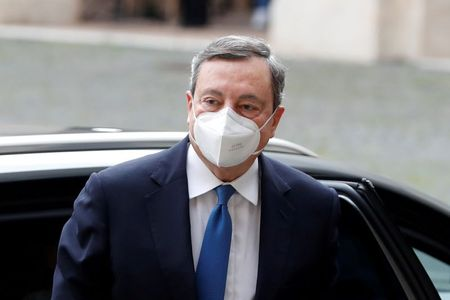 FILE PHOTO: Former European Central Bank President Mario Draghi arrives for a meeting with Italian President Sergio Mattarella at the Quirinale Palace in Rome, Italy February 3, 2021. REUTERS/Yara Nardi/File Photo
