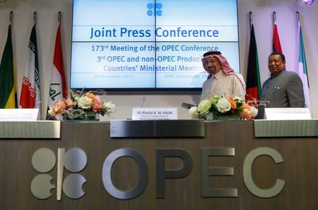 Saudi Arabia's Oil Minister Khalid al-Falih (L) and OPEC Secretary General Mohammad Barkindo arrive for a news conference after an OPEC meeting in Vienna, Austria, November 30, 2017. REUTERS/Heinz-Peter Bader