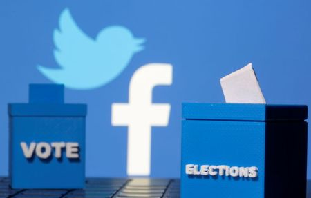 3D-printed ballot boxes are seen in front of displayed Facebook and Twitter logos in this illustration taken November 4, 2020. REUTERS/Dado Ruvic/Illustration