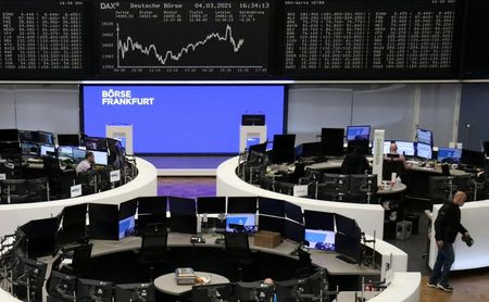 The German share price index DAX graph is pictured at the stock exchange in Frankfurt, Germany, March 4, 2021. REUTERS/Staff