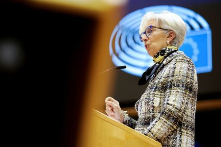 European Central Bank (ECB) President Christine Lagarde addresses European lawmakers during a plenary session at the European Parliament in Brussels, Belgium February 8, 2021. Olivier Matthys/Pool via REUTERS