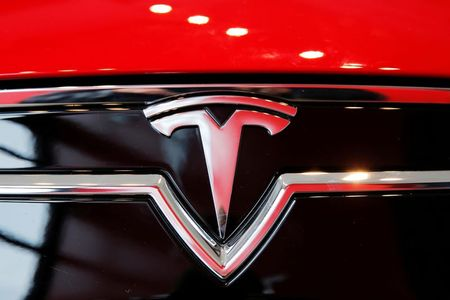 FILE PHOTO: A Tesla logo on a Model S is photographed inside of a Tesla dealership in New York, U.S., April 29, 2016. REUTERS/Lucas Jackson/File Photo