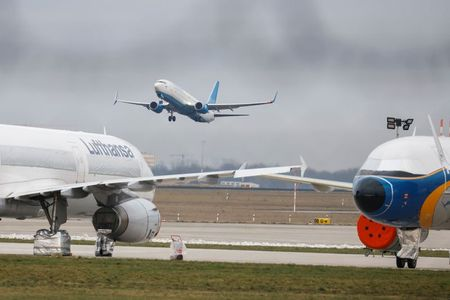 A Pobeda plane with Russian Kremlin critic Alexei Navalny takes off at Berlin Brandenburg Airport in Berlin, Germany, January 17, 2021. REUTERS/Axel Schmidt