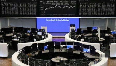 FILE PHOTO: The German share price index DAX graph is pictured at the stock exchange in Frankfurt, Germany, March 22, 2021. REUTERS/Staff