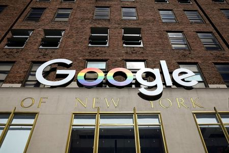FILE PHOTO: The Google logo is displayed outside the company offices in New York, U.S., June 4, 2019. REUTERS/Brendan McDermid/File Photo