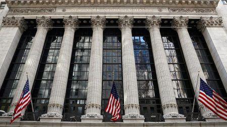 FILE PHOTO: The front facade of the New York Stock Exchange (NYSE) is seen in New York City, U.S., March 29, 2021. REUTERS/Brendan McDermid/File Photo