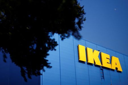 The company's logo is seen outside of an IKEA Group store in Saint-Herblain near Nantes, France, March 22, 2021. REUTERS/Stephane Mahe
