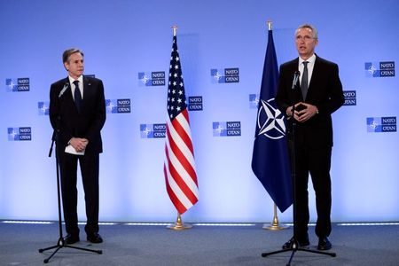 NATO Secretary General Jens Stoltenberg delivers a statement as he meets with U.S. Secretary of State Antony Blinken in Brussels, Belgium, April 14, 2021. REUTERS/Johanna Geron/Pool