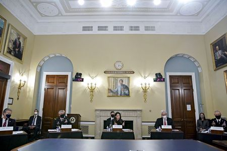 FBI Director Christopher Wray, NSA Director Gen. Paul Nakasone, Director of National Intelligence Avril Haines, CIA Director William Burns, and DIA Director Lt. General Scott Berrier attend a House Intelligence Committee hearing on worldwide threats, in Washington, D.C., U.S., April 15, 2021. Al Drago/Pool via REUTERS