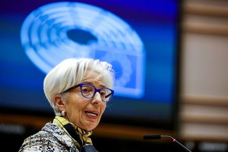 FILE PHOTO: European Central Bank President Christine Lagarde addresses European lawmakers during a plenary session at the European Parliament in Brussels, Belgium February 8, 2021. Olivier Matthys/Pool via REUTERS