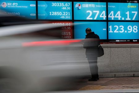 FILE PHOTO: A man stands in front of a screen displaying Nikkei share average and the world's stock indexes outside a brokerage, amid the coronavirus disease (COVID-19) outbreak, in Tokyo, Japan December 30, 2020. REUTERS/Issei Kato/File Photo
