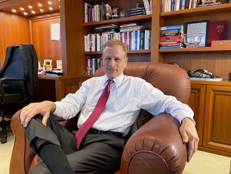 Dallas Federal Reserve Bank President Robert Kaplan speaks during an interview in his office at the bank's headquarters in Dallas, Texas, U.S. January 9, 2020. REUTERS/Ann Saphir