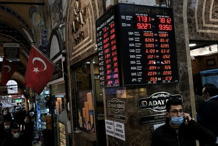 A board shows the currency exchange rates outside an exchange office in Istanbul, Turkey March 22, 2021. REUTERS/Murad Sezer