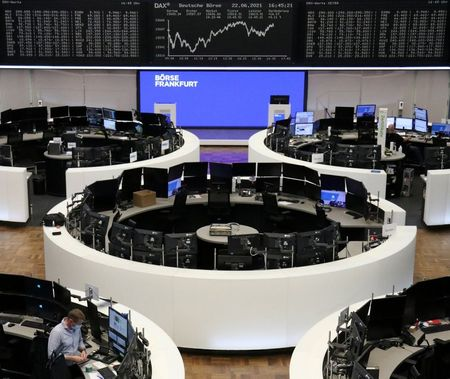 FILE PHOTO: The German share price index DAX graph is pictured at the stock exchange in Frankfurt, Germany, June 22, 2021. REUTERS/Staff