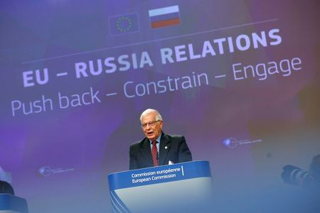 European High Representative of the Union for Foreign Affairs, Josep Borrell speaks during a news conference at the European Commission headquarters, in Brussels, Belgium June 16, 2021. REUTERS/Johanna Geron/Pool
