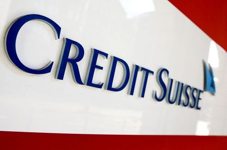 The logo of Swiss bank Credit Suisse is seen at a branch office in Zurich, Switzerland, April 14, 2021. REUTERS/Arnd Wiegmann/File Photo
