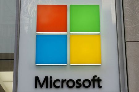 FILE PHOTO: A Microsoft logo is pictured on a store in the Manhattan borough of New York City, New York, U.S., January 25, 2021. REUTERS/Carlo Allegri/File Photo