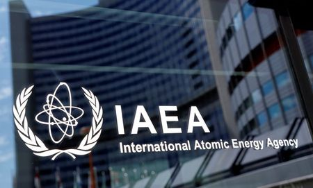 The logo of the International Atomic Energy Agency (IAEA) is seen at their headquarters during a board of governors meeting, amid the coronavirus disease (COVID-19) outbreak in Vienna, Austria, June 7, 2021. REUTERS/Leonhard Foeger